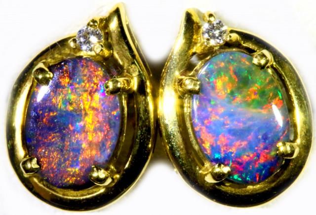 Boulder Opal set in 18k Gold Earrings SB696