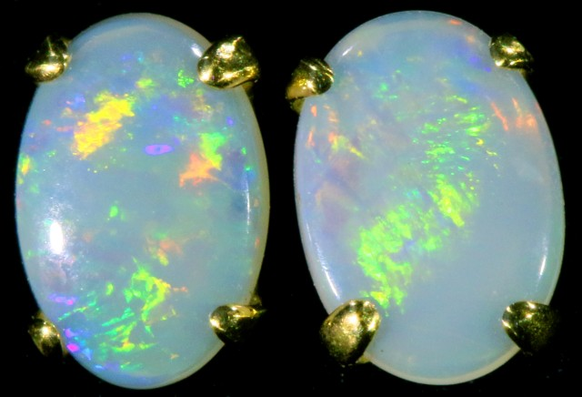 Crystal Opal set in 18k Gold Earrings SB703