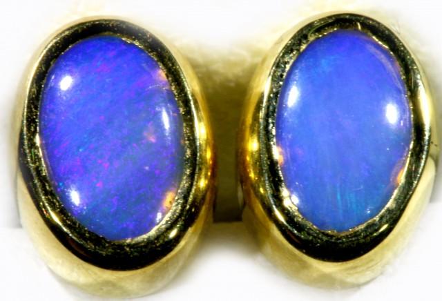 Crystal Opal set in 18k Gold Earrings SB707
