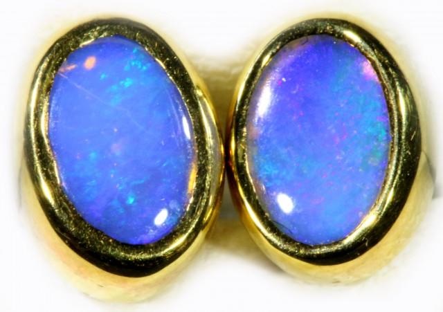 Crystal Opal set in 18k Gold Earrings SB708