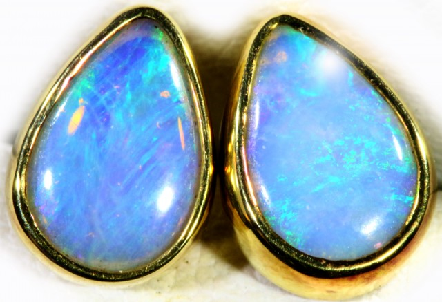 Crystal Opal set in 18k Gold Earrings SB709
