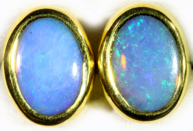 Crystal Opal set in 18k Gold Earrings SB710