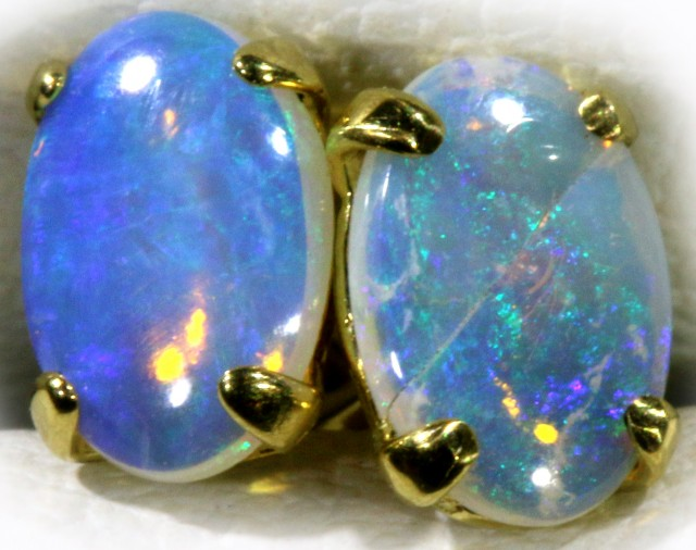 Crystal Opal set in 18k Gold Earrings SB713