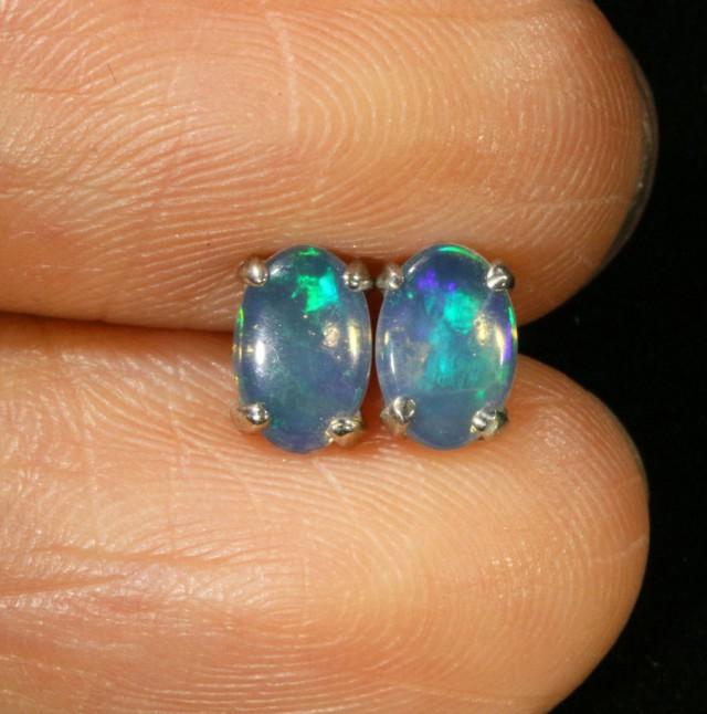 Cute Crystal Opal 18k White Gold Earrings  SB 720