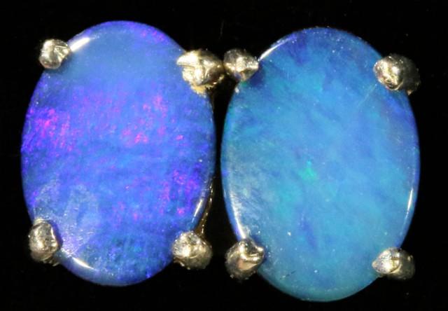Cute Doublet Opal 18k White Gold Earrings  SB 722