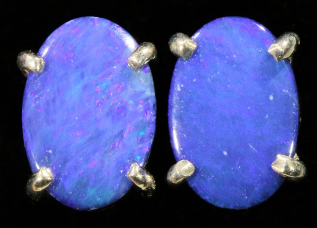 Cute doublet Opal 18k White Gold Earrings  SB 727