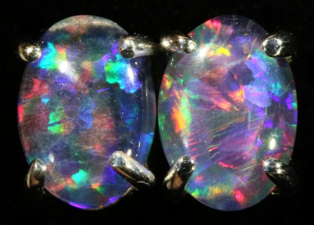 Cute Triplet Opal 18k White Gold Earrings  SB 739