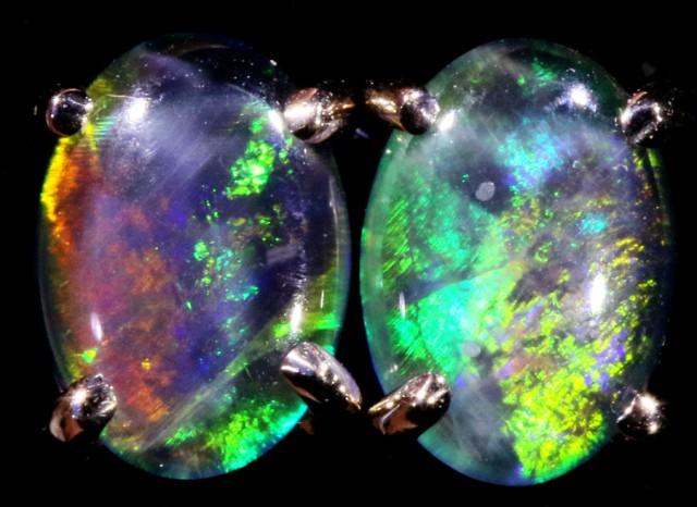 Cute Triplet Opal 18k White Gold Earrings  SB 743