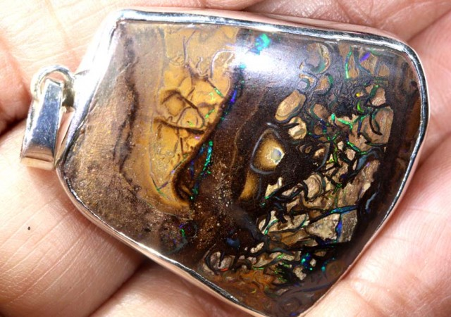 70 CTS BOULDER OPAL STERLING SILVER PENDANT OF-1946