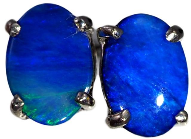 Opal Doublet set in 18k white  Gold Earrings SB671