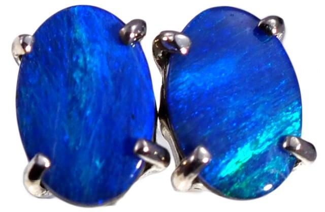 Opal Doublet set in 18k white Gold Earrings SB672