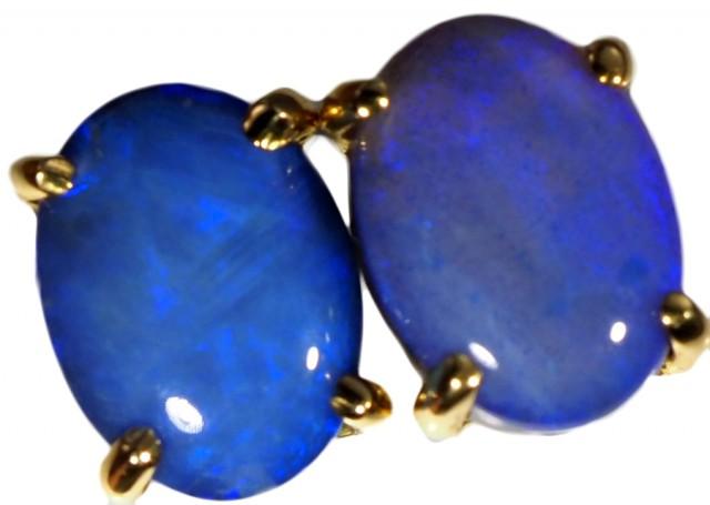 Crystal Opal Doublet set in 18k Gold Earrings SB676
