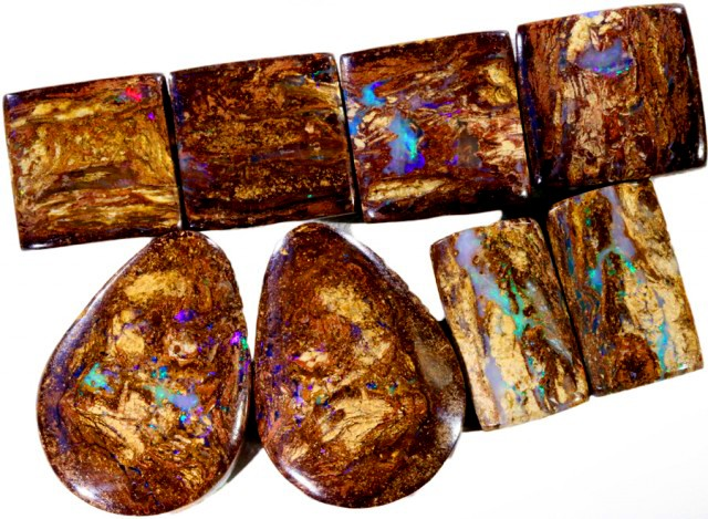 96.80 CTS FOUR PAIRS BOULDER WOOD FOSSIL REPLACEMENT [BMA4430]