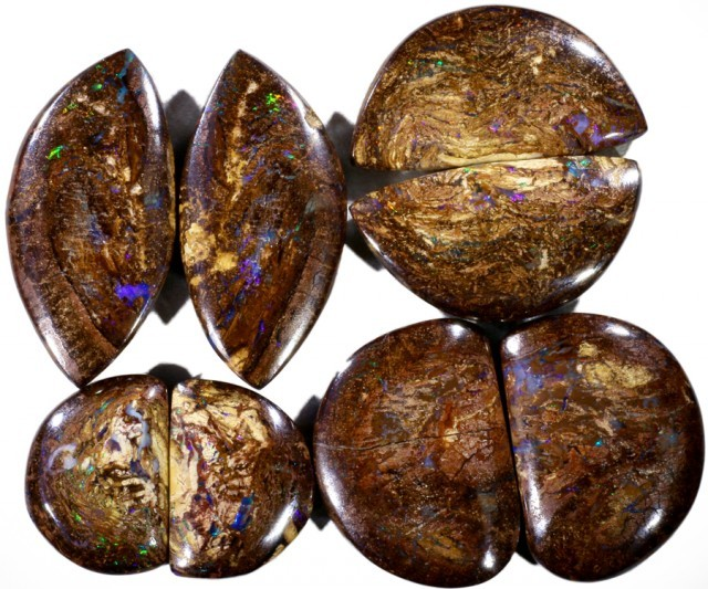 146.65 CTS FOUR PAIRS BOULDER WOOD FOSSIL REPLACEMENT [BMA4432]