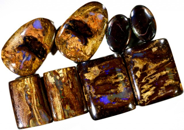 124.40 CTS FOUR PAIRS BOULDER WOOD FOSSIL REPLACEMENT [BMA4436]