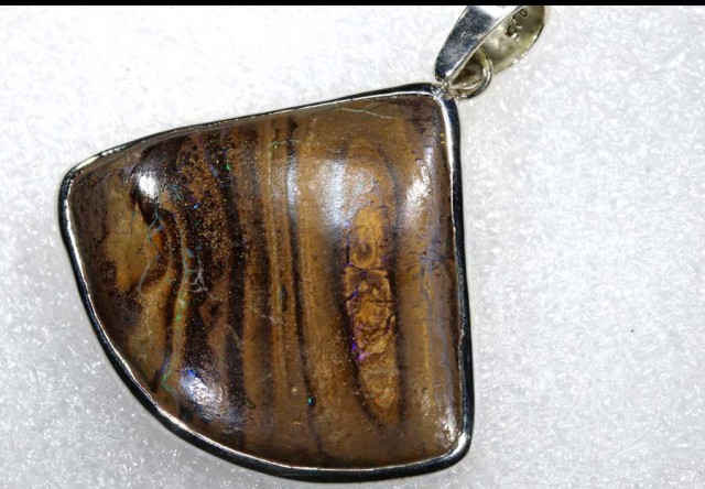 65 CTS BOULDER OPAL STERLING SILVER PENDANT OF-1962