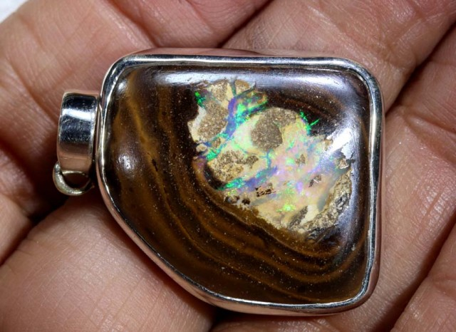 52 CTS BOULDER OPAL STERLING SILVER PENDANT OF-1969