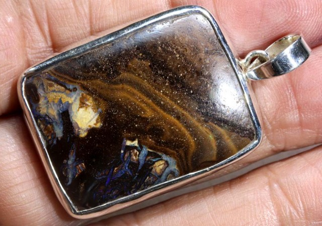 62 CTS BOULDER OPAL STERLING SILVER PENDANT OF-1970