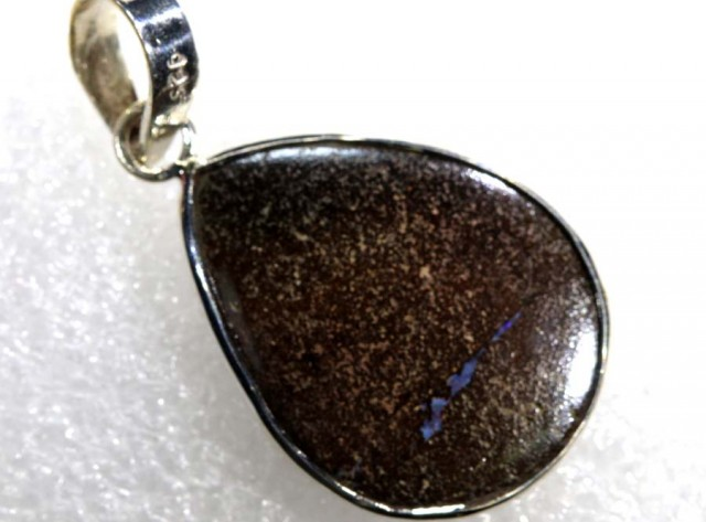 21 CTS BOULDER OPAL STERLING SILVER PENDANT OF-1973