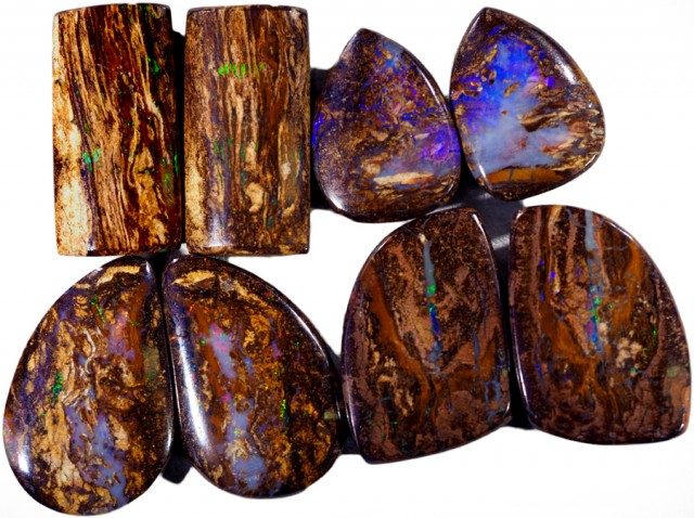 112.15 CTS FOUR  PAIRS BOULDER WOOD FOSSIL REPLACEMENT [BMA4440]
