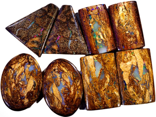 181.95 CTS FOUR  PAIRS BOULDER WOOD FOSSIL REPLACEMENT [BMA4442]