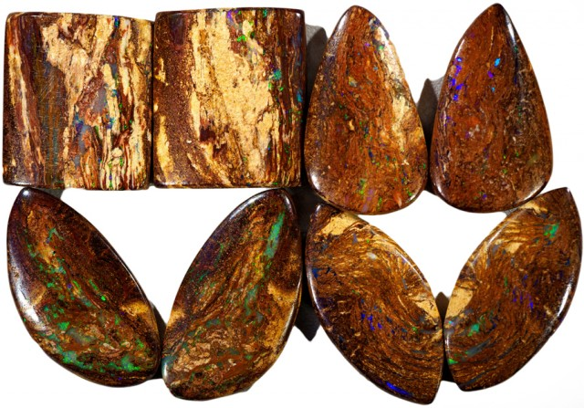 186.45 CTS FOUR  PAIRS BOULDER WOOD FOSSIL REPLACEMENT [BMA4443]