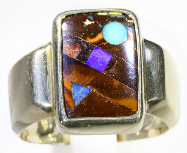 LARGE SIZE US10 BOULDER WITH INLAY OPAL  SILVER RING CF963