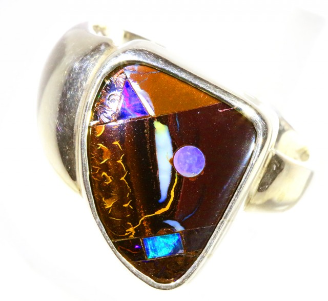 SOLID BOULDER WITH INLAY OPAL SET IN SILVER RING CF967
