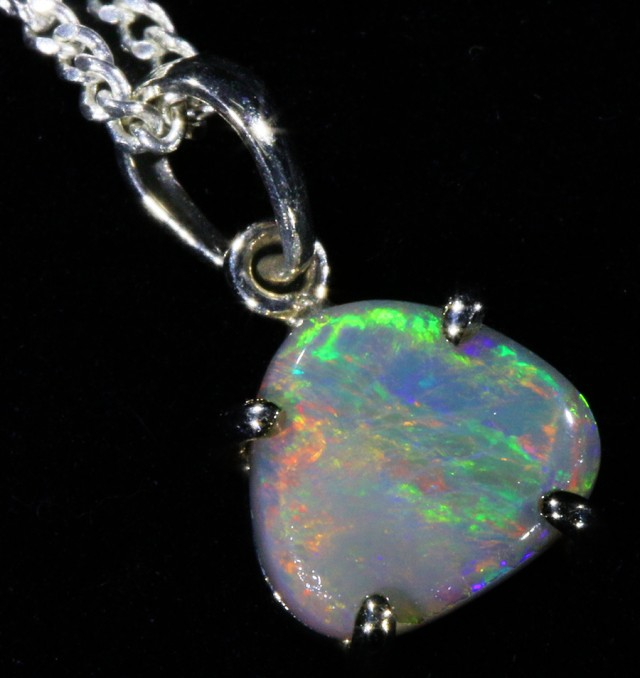 18k White gold with  solid semi Black opal CF990