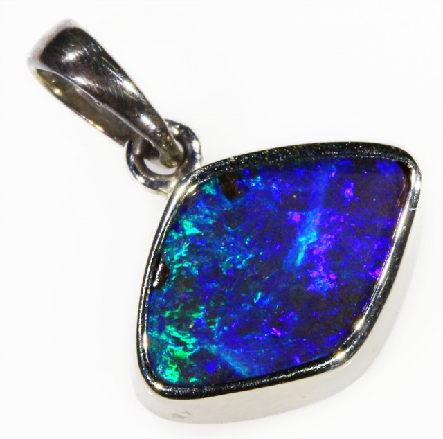 18k White gold with  solid Boulder opal CF1003