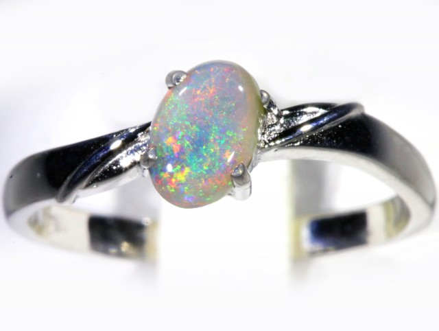 Cute Solid Dark Opal 18k White Gold  Engagement Ring SB 791