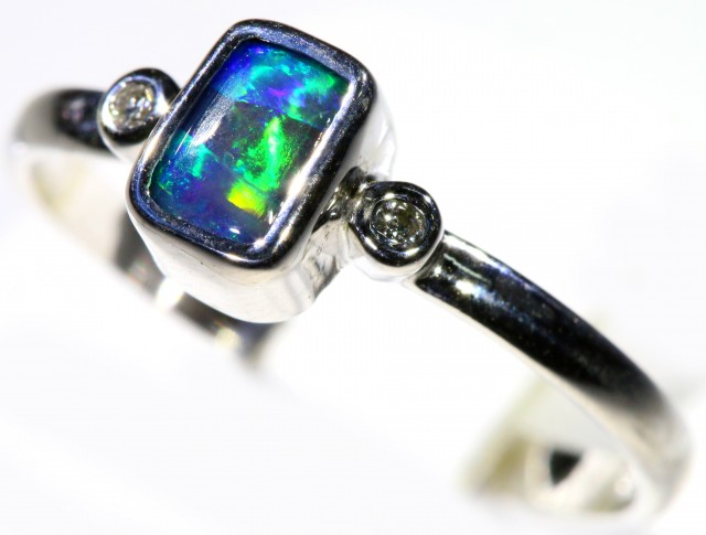 Cute Solid Boulder Opal 18k White Gold Engagement Ring SB793