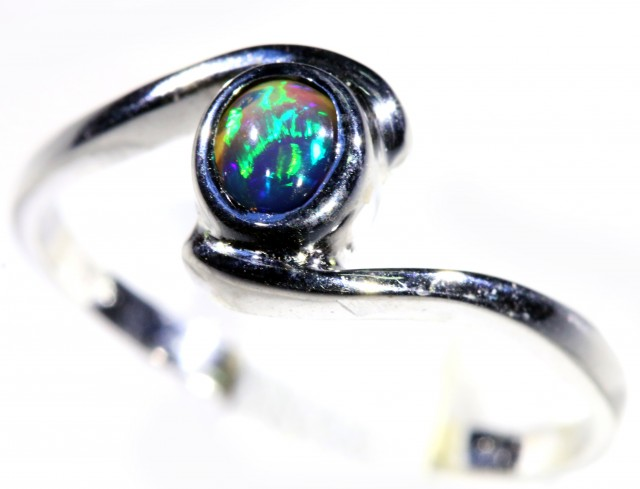 Cute Solid black Opal 18k White Gold  Engagement Ring SB 796