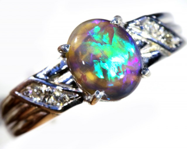 Cute Solid Black crystal Opal 18k White Gold Engagement Ring SB 798