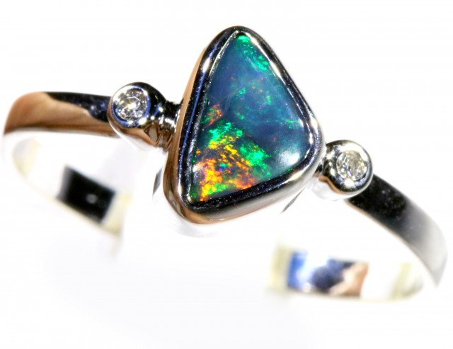 Cute Solid black  Opal 18k White Gold  Engagement Ring SB 799