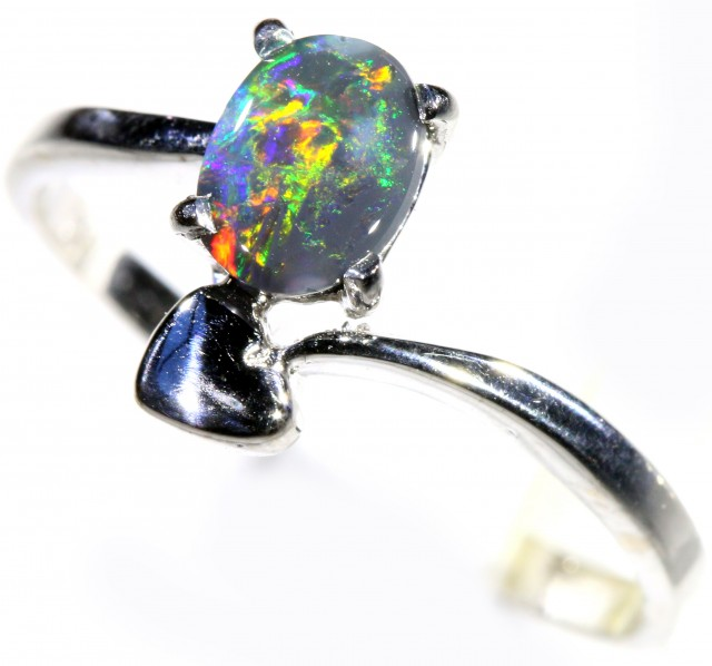 Cute Solid black  Opal 18k White Gold  Engagement Ring SB 800