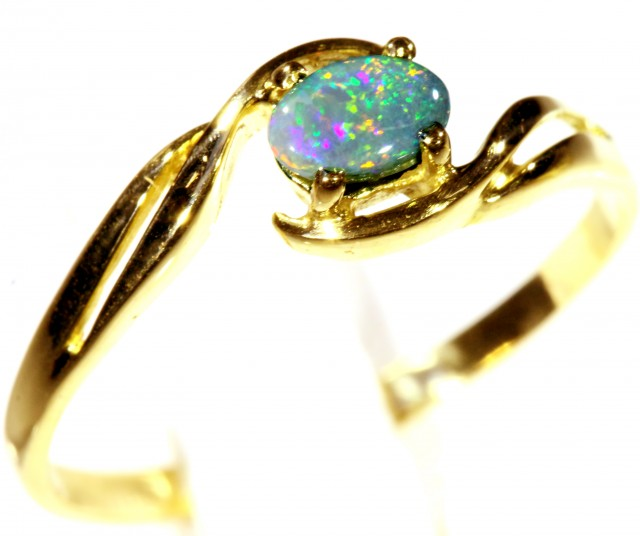 Cute Solid black Opal 18k Yellow Gold Engagement Ring SB 808