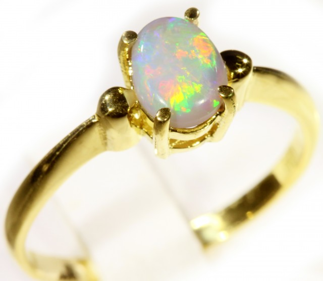 Cute Solid Crystal Opal 18k Yellow Gold Engagement Ring SB 811