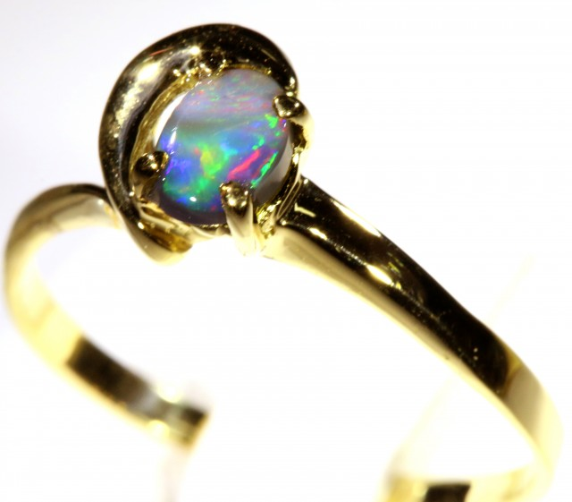 Cute Solid black Opal 18k Yellow Gold Engagement Ring SB 812