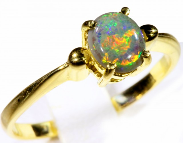 Cute Solid black Opal 18k Yellow Gold Ring SB 815