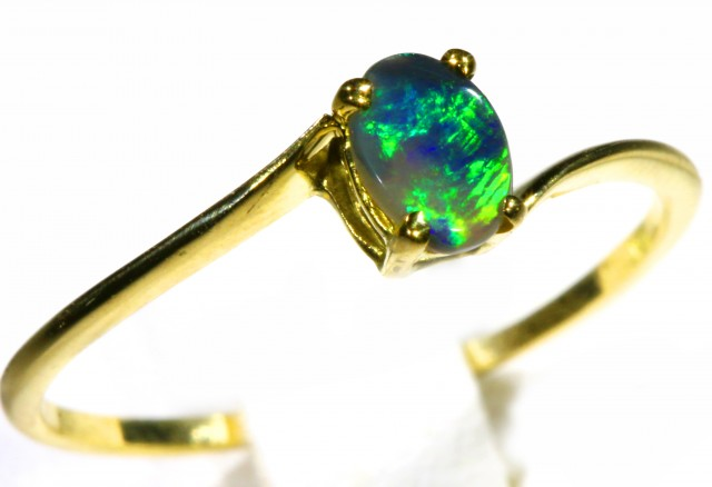 Cute Solid black Opal 18k Yellow Gold Ring SB 816