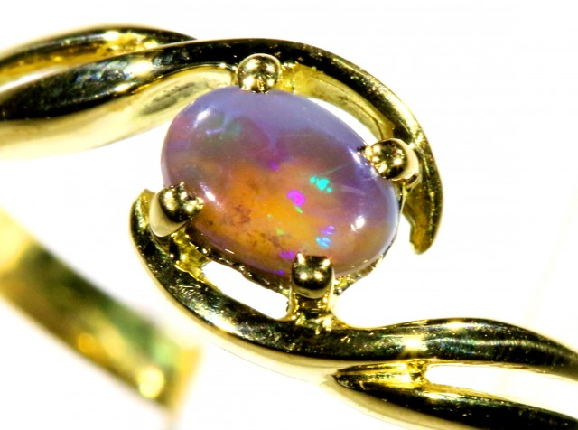 Cute Solid black Opal 18k Yellow Gold Ring SB 822