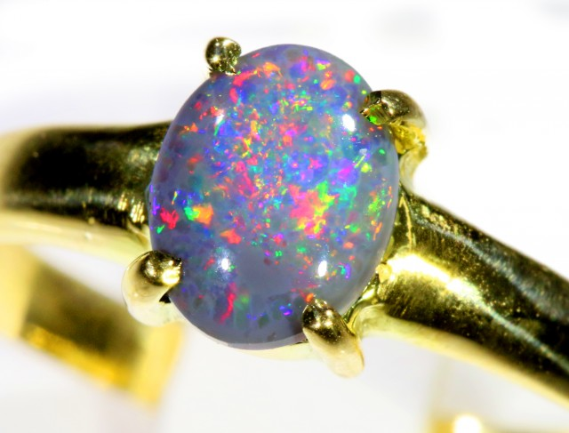 Cute Solid black Opal 18k Yellow Gold Ring SB 823