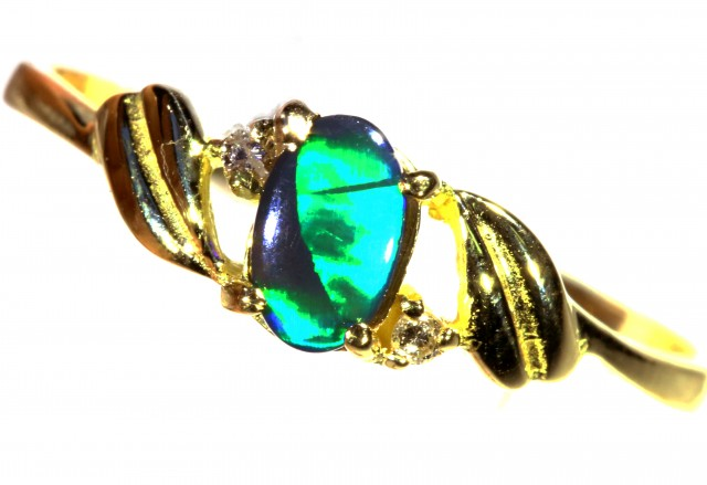 Cute Solid black Opal 18k Yellow Gold Ring SB 824
