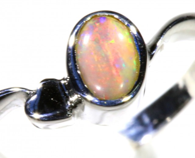 Cute Solid black Opal 18k White Gold Ring SB 830