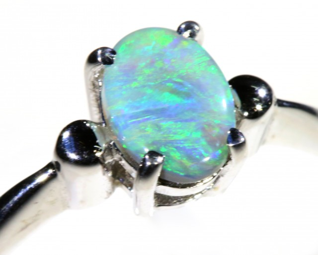 Cute Solid black Opal 18k White Gold Ring SB 835