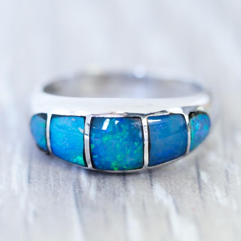 Cute Inlay Opal 18k White Gold Ring SB 840