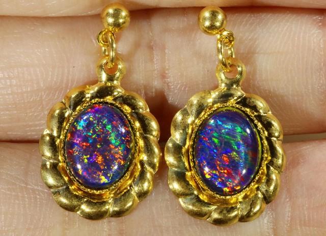 Beautiful Triplet Opal Earrings gold plated  Set  CF 1022