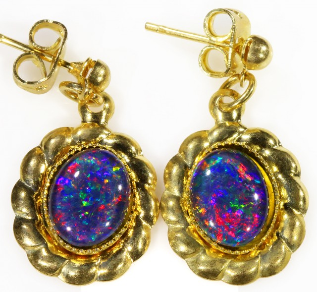 Beautiful Triplet Opal Earrings gold plated  Set  CF 1020
