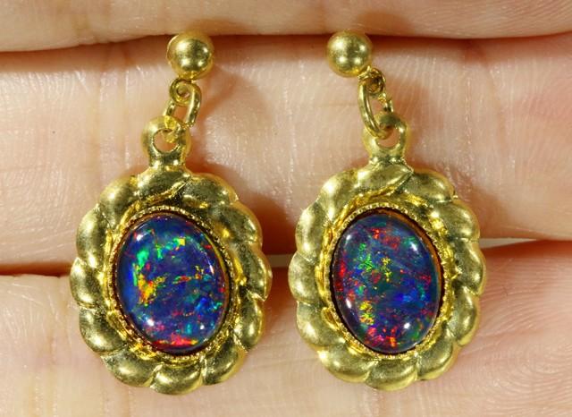 Beautiful Triplet Opal Earrings gold plated  Set  CF 1012